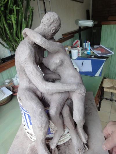 Le baiser d'après Rodin en cours de réalisation 2ème version